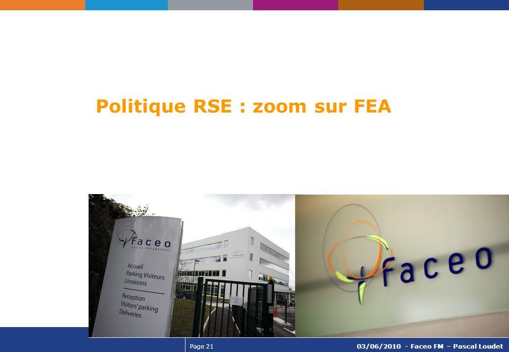 Page 21 03/06/2010 - Faceo FM – Pascal Loudet Politique RSE : zoom sur FEA
