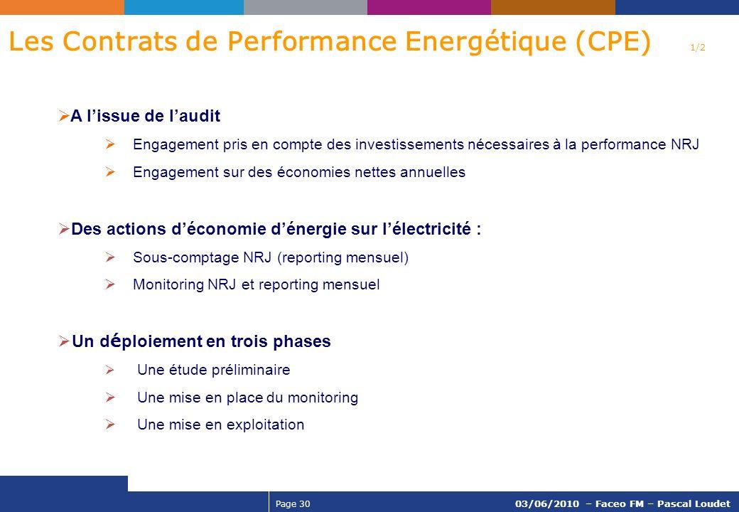 Page 30 03/06/2010 – Faceo FM – Pascal Loudet A lissue de laudit Engagement pris en compte des investissements nécessaires à la performance NRJ Engage