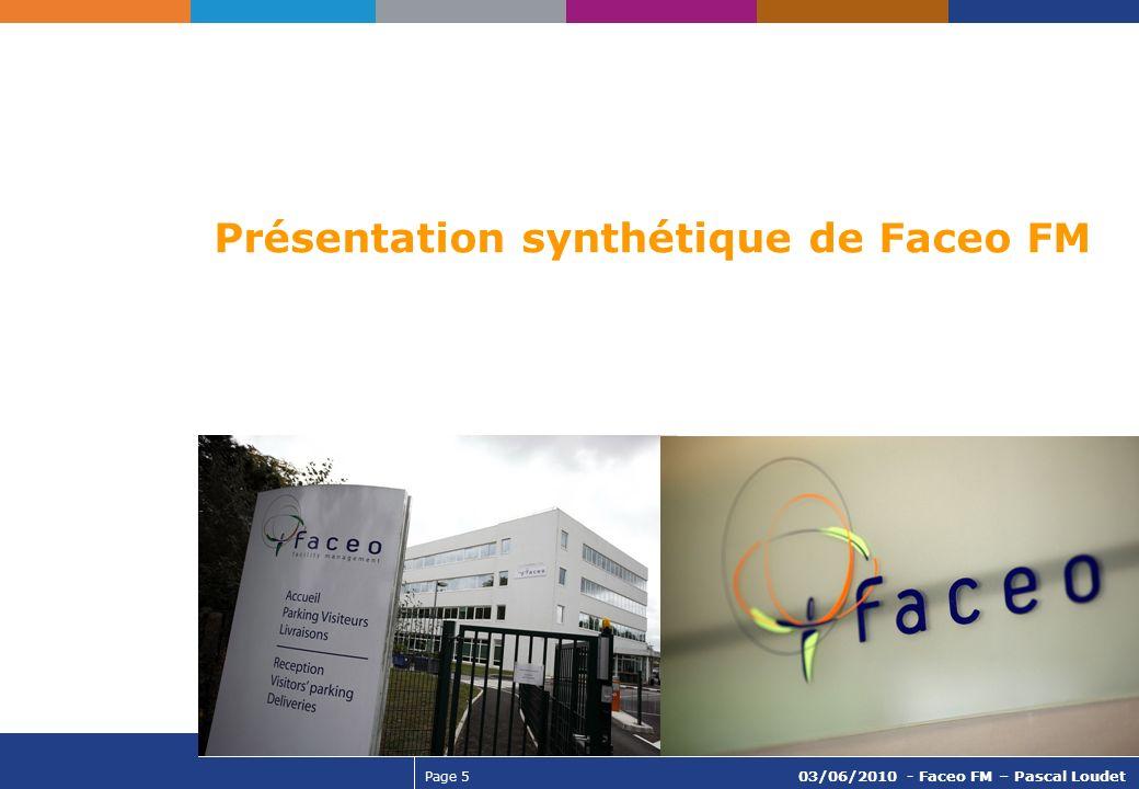 Page 5 03/06/2010 - Faceo FM – Pascal Loudet Présentation synthétique de Faceo FM