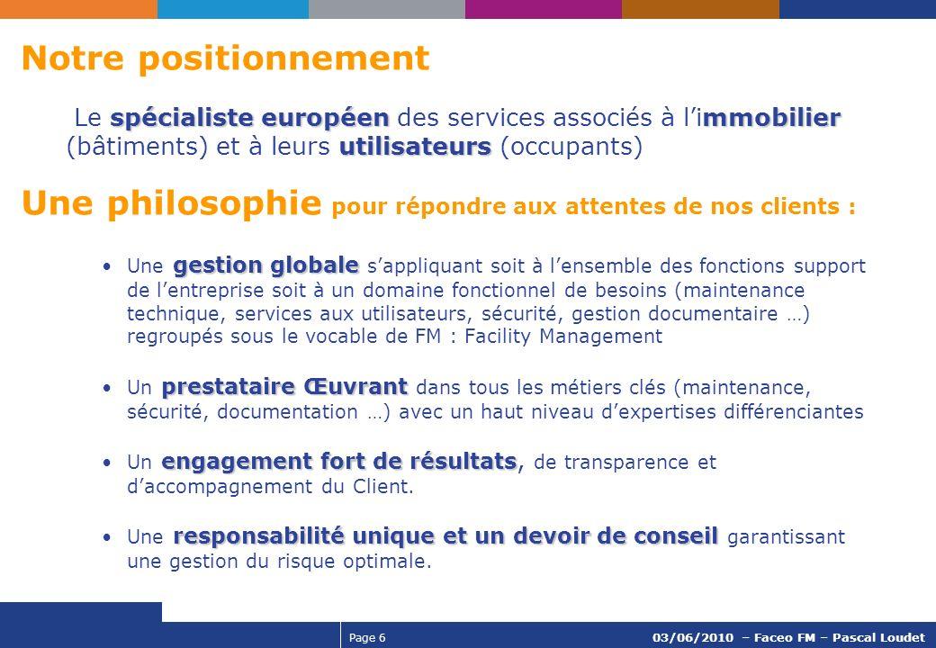 Page 6 03/06/2010 – Faceo FM – Pascal Loudet gestion globaleUne gestion globale sappliquant soit à lensemble des fonctions support de lentreprise soit