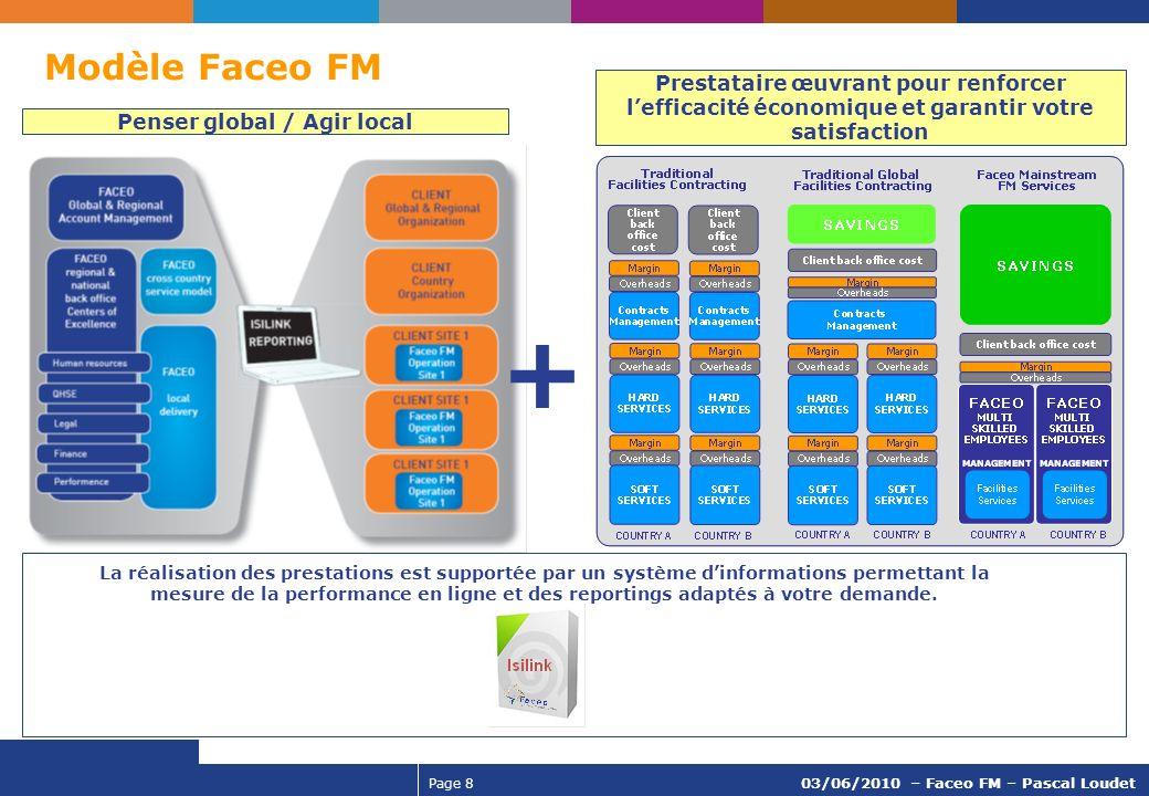 Page 8 03/06/2010 – Faceo FM – Pascal Loudet La réalisation des prestations est supportée par un système dinformations permettant la mesure de la perf