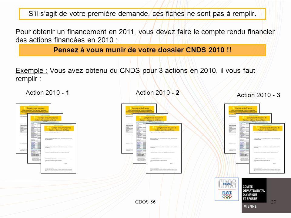 CDOS 8620 Pour obtenir un financement en 2011, vous devez faire le compte rendu financier des actions financées en 2010 : Exemple : Vous avez obtenu d