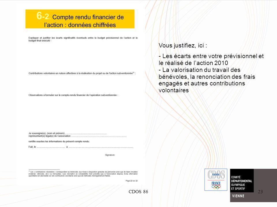 CDOS 8623 Vous justifiez, ici : - Les écarts entre votre prévisionnel et le réalisé de laction 2010 - La valorisation du travail des bénévoles, la ren