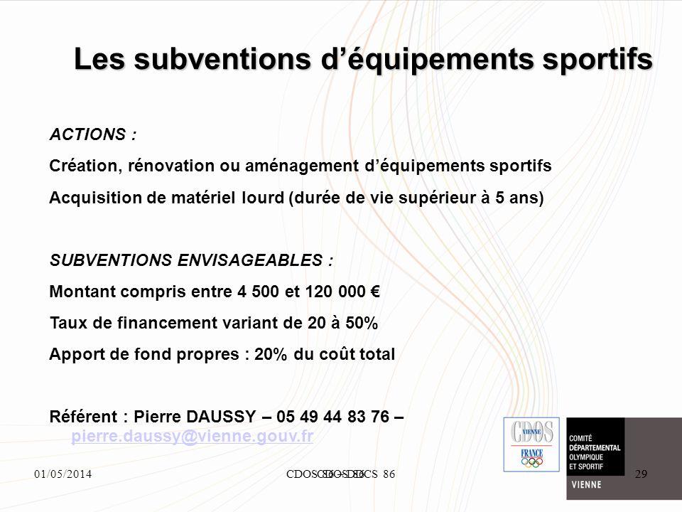 01/05/2014CDOS 86 – DDCS 8629 Les subventions déquipements sportifs 29CDOS 86 ACTIONS : Création, rénovation ou aménagement déquipements sportifs Acqu