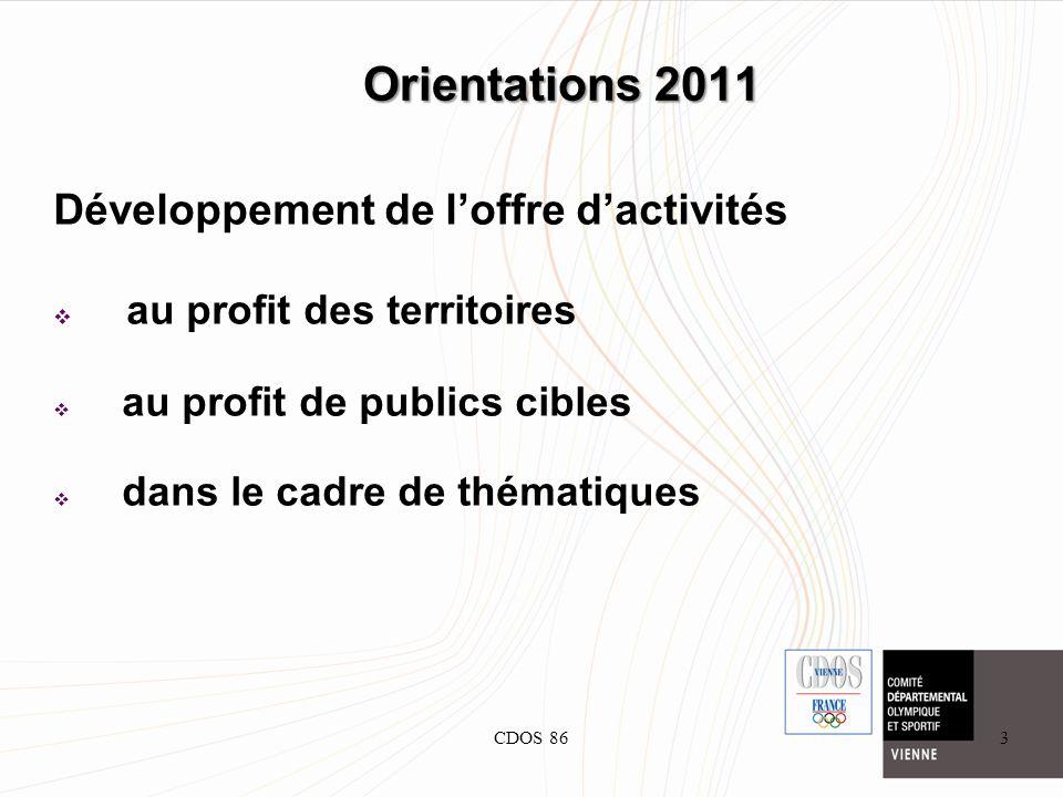CDOS 863 Orientations 2011 Développement de loffre dactivités au profit des territoires au profit de publics cibles dans le cadre de thématiques