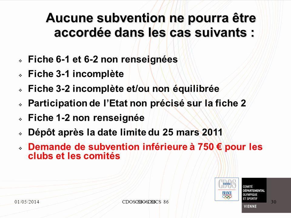 01/05/2014CDOS 86 – DDCS 8630 Aucune subvention ne pourra être accordée dans les cas suivants : 30CDOS 86 Fiche 6-1 et 6-2 non renseignées Fiche 3-1 i