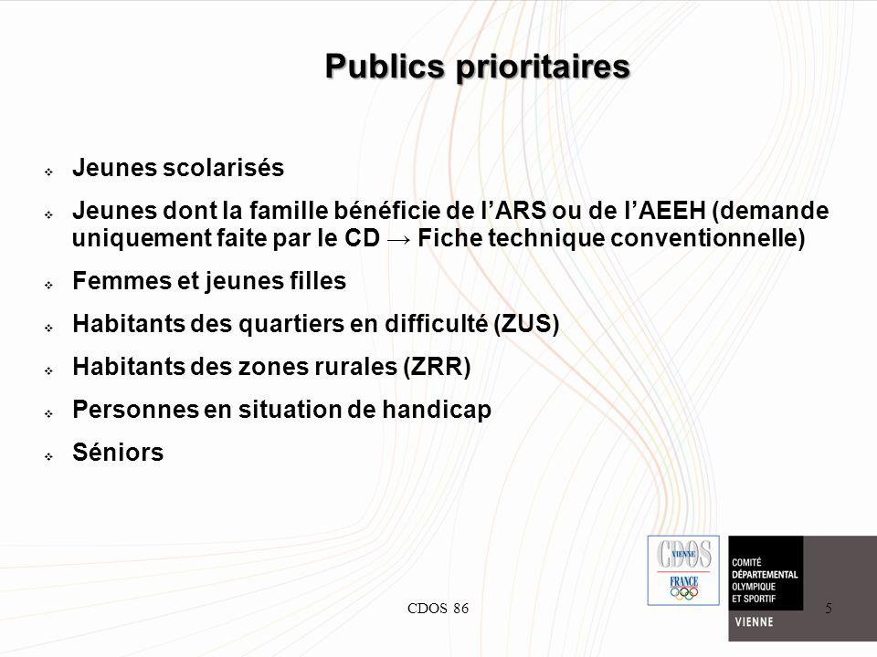 CDOS 865 Publics prioritaires Jeunes scolarisés Jeunes dont la famille bénéficie de lARS ou de lAEEH (demande uniquement faite par le CD Fiche techniq