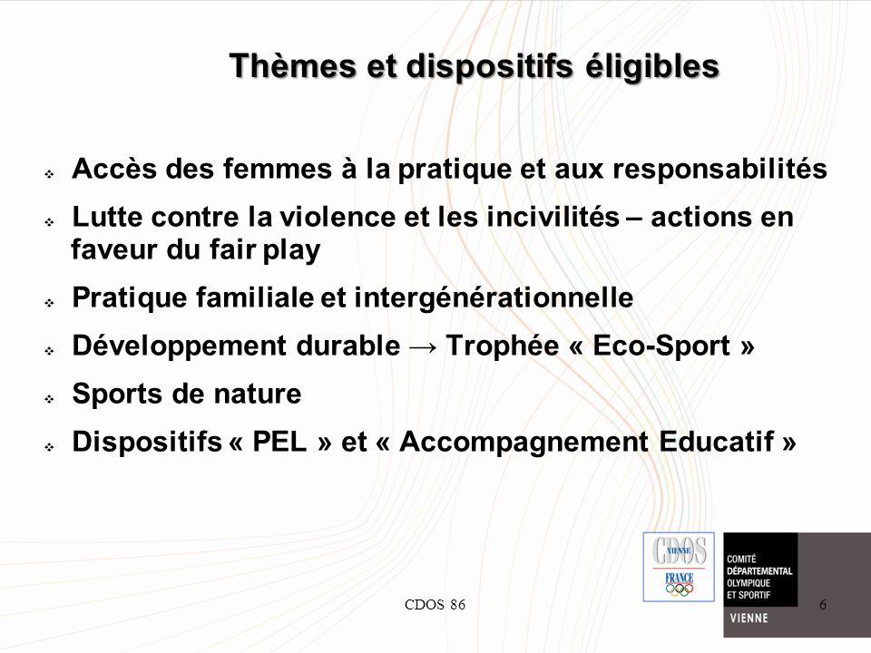 CDOS 866 Thèmes et dispositifs éligibles Accès des femmes à la pratique et aux responsabilités Lutte contre la violence et les incivilités – actions e