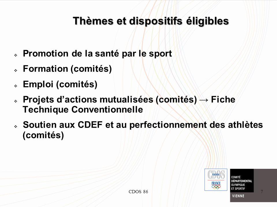 CDOS 867 Thèmes et dispositifs éligibles Promotion de la santé par le sport Formation (comités) Emploi (comités) Projets dactions mutualisées (comités
