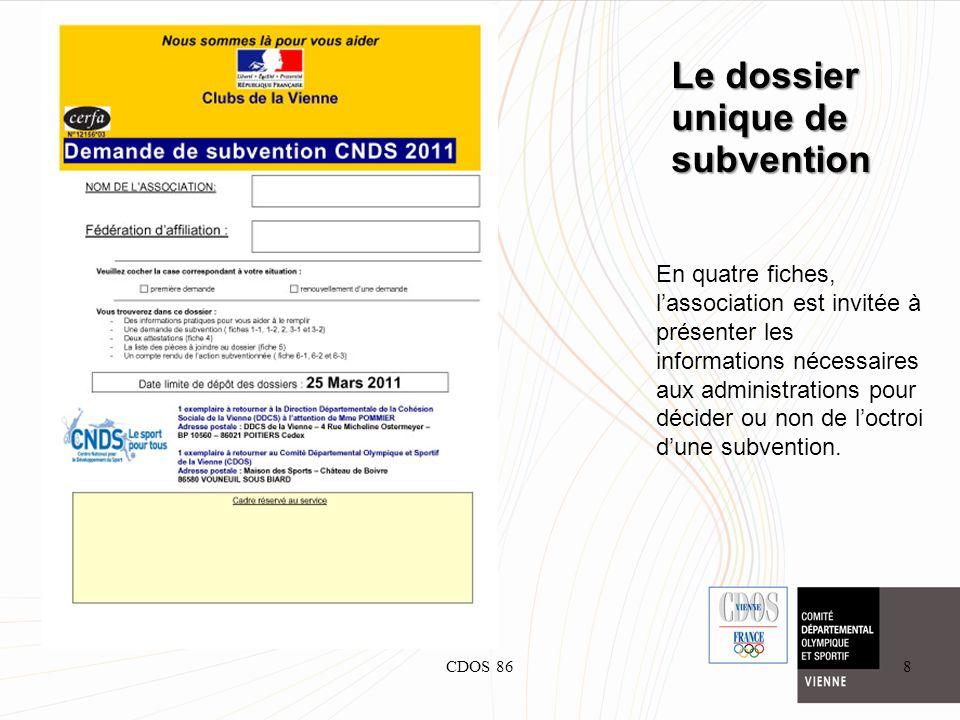 CDOS 868 En quatre fiches, lassociation est invitée à présenter les informations nécessaires aux administrations pour décider ou non de loctroi dune s