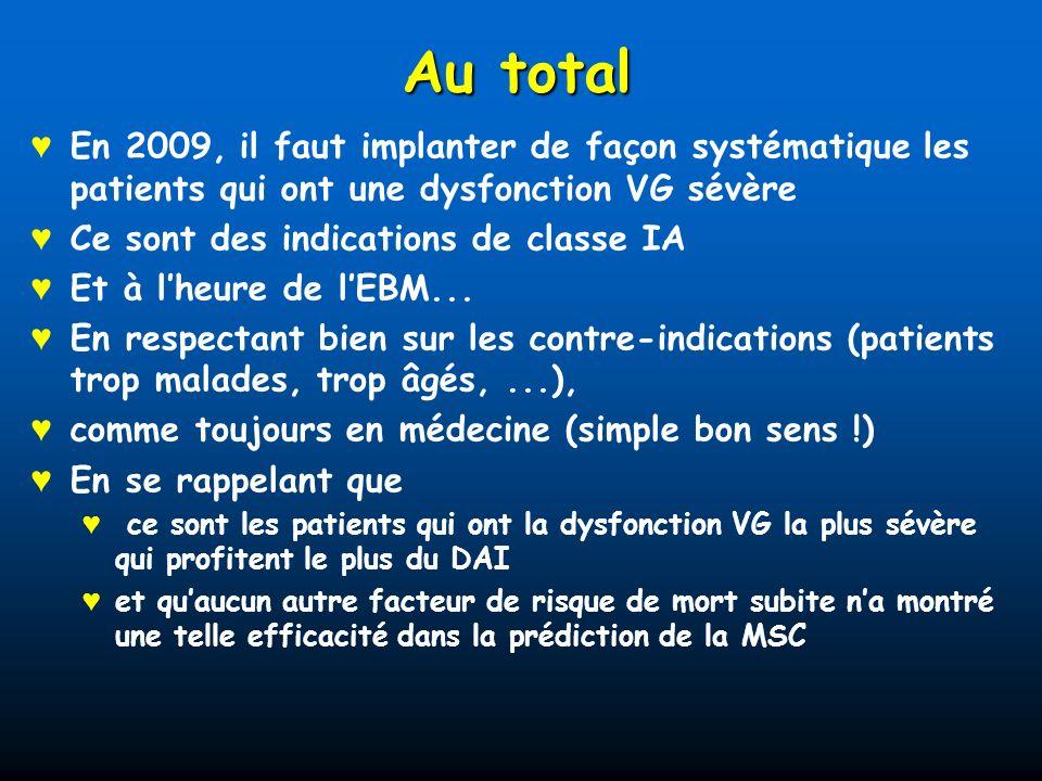 Au total En 2009, il faut implanter de façon systématique les patients qui ont une dysfonction VG sévère Ce sont des indications de classe IA Et à lhe