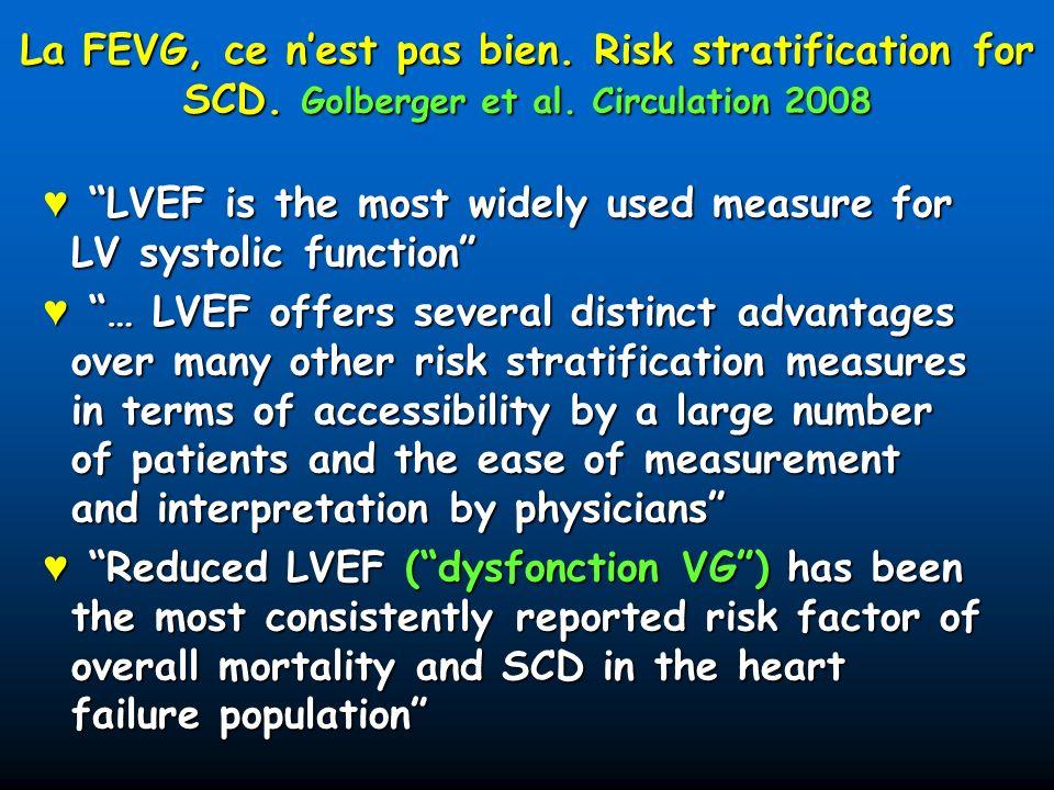 Létat des lieux Toutes les études de prévention primaire dans la cardiopathie ischémique, la cardiopathie dilatée et linsuffisance cardiaque ont été faites avec la FEVG comme critère dinclusion Toutes les études de prévention primaire dans la cardiopathie ischémique, la cardiopathie dilatée et linsuffisance cardiaque ont été faites avec la FEVG comme critère dinclusion Tantôt unique (Madit 2) Tantôt unique (Madit 2) Tantôt associé (Madit 1, MUSTT, Definite, CAT, Amiovirt…) Tantôt associé (Madit 1, MUSTT, Definite, CAT, Amiovirt…) Toutes les études de prévention primaire dans la CRT ont été faites avec comme critères dinclusion la largeur des QRS et la FEVG Toutes les études de prévention primaire dans la CRT ont été faites avec comme critères dinclusion la largeur des QRS et la FEVG Résultat : Dans la CI et la CMD, toute la stratification du DAI repose sur la FEVG Résultat : Dans la CI et la CMD, toute la stratification du DAI repose sur la FEVG