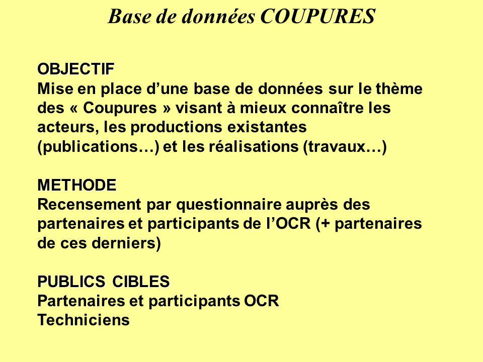 OBJECTIF Mise en place dune base de données sur le thème des « Coupures » visant à mieux connaître les acteurs, les productions existantes (publicatio