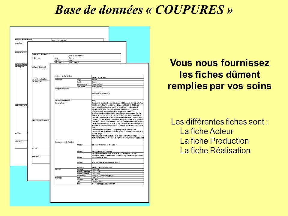 Vous nous fournissez les fiches dûment remplies par vos soins Base de données « COUPURES » Les différentes fiches sont : La fiche Acteur La fiche Production La fiche Réalisation