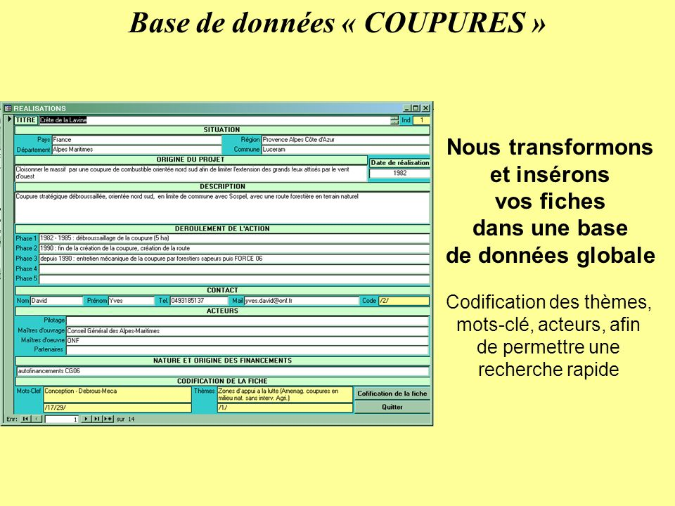 Base de données « COUPURES » Nous transformons et insérons vos fiches dans une base de données globale Codification des thèmes, mots-clé, acteurs, afin de permettre une recherche rapide