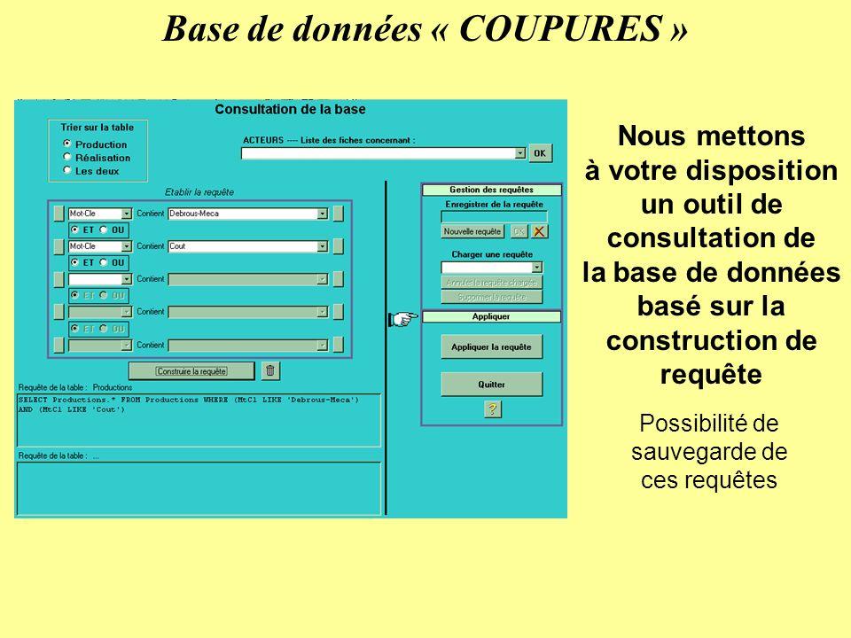 Base de données « COUPURES » Nous mettons à votre disposition un outil de consultation de la base de données basé sur la construction de requête Possibilité de sauvegarde de ces requêtes