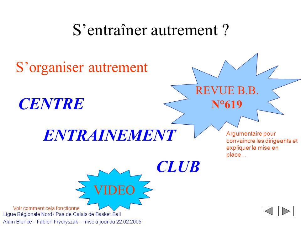 Ligue Régionale Nord / Pas-de-Calais de Basket-Ball Alain Blondé – Fabien Frydryszak – mise à jour du 22.02.2005 Sentraîner autrement .