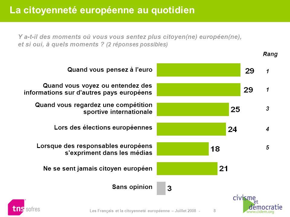 8 Les Français et la citoyenneté européenne – Juillet 2008 - Y a-t-il des moments où vous vous sentez plus citoyen(ne) européen(ne), et si oui, à quel