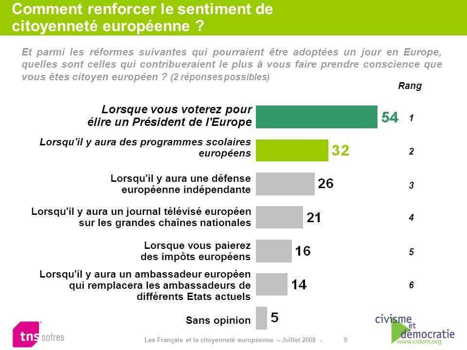 9 Les Français et la citoyenneté européenne – Juillet 2008 - Et parmi les réformes suivantes qui pourraient être adoptées un jour en Europe, quelles s