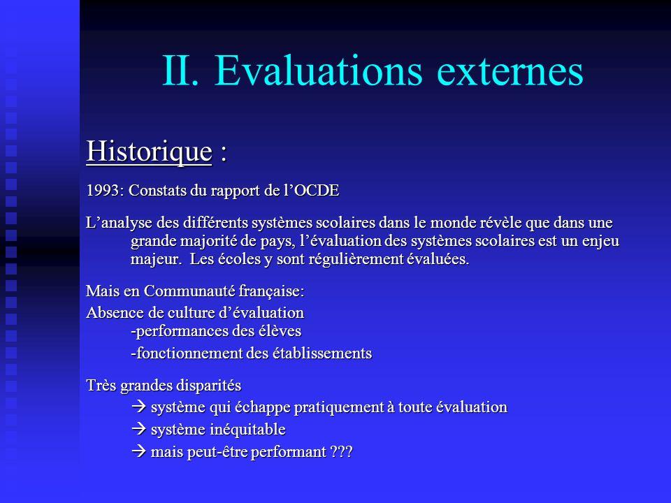 II. Evaluations externes Historique : 1993: Constats du rapport de lOCDE Lanalyse des différents systèmes scolaires dans le monde révèle que dans une