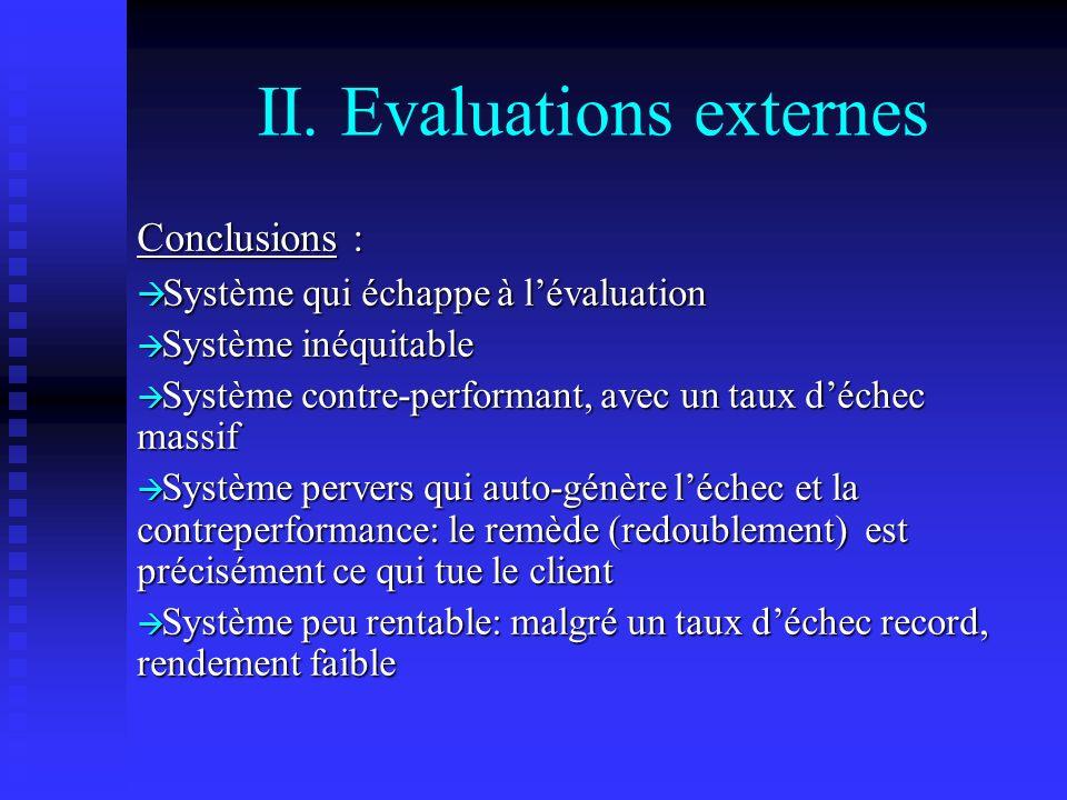 II. Evaluations externes Conclusions : Système qui échappe à lévaluation Système qui échappe à lévaluation Système inéquitable Système inéquitable Sys