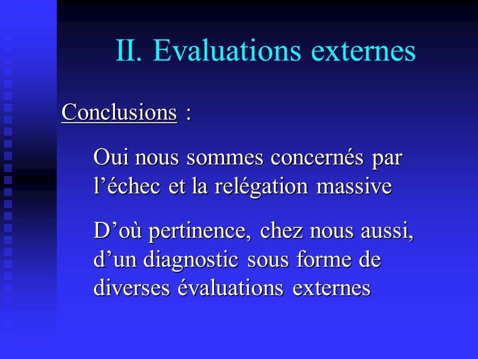 II. Evaluations externes Conclusions : Oui nous sommes concernés par léchec et la relégation massive Doù pertinence, chez nous aussi, dun diagnostic s