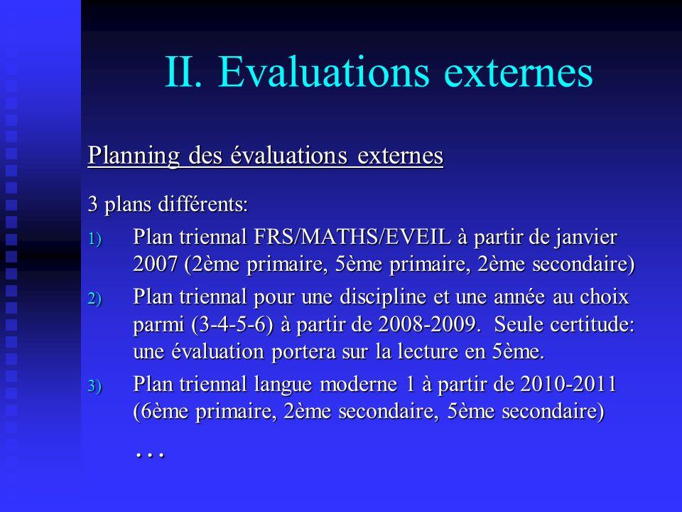 II. Evaluations externes Planning des évaluations externes 3 plans différents: 1) Plan triennal FRS/MATHS/EVEIL à partir de janvier 2007 (2ème primair
