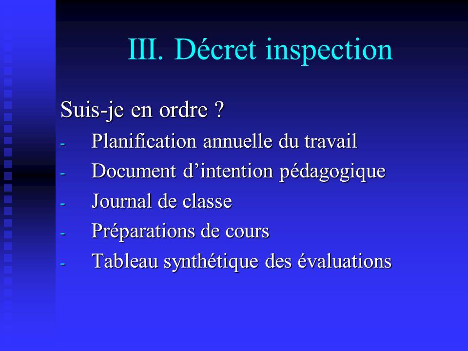 III.Décret inspection Suis-je en ordre .