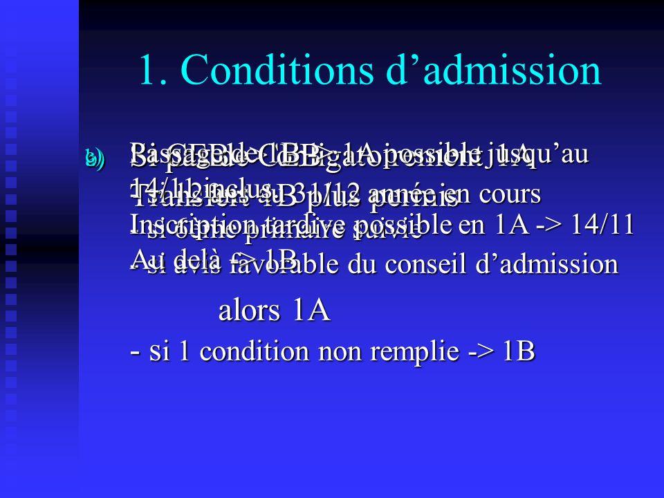 1. Conditions dadmission a) Si CEB -> obligatoirement 1A Transfert 1B plus permis b) Si pas de CEB : - si 12 ans au 31/12 année en cours - si 6ème pri
