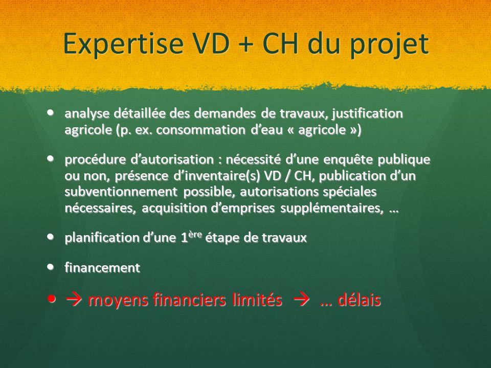 Expertise VD + CH du projet analyse détaillée des demandes de travaux, justification agricole (p. ex. consommation deau « agricole ») analyse détaillé