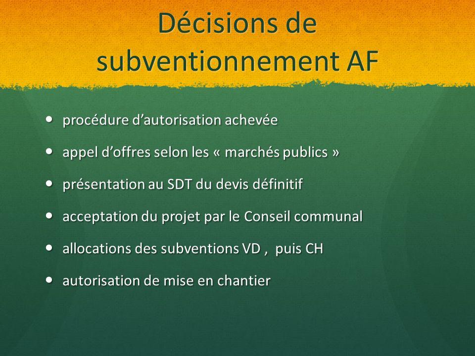 Décisions de subventionnement AF procédure dautorisation achevée procédure dautorisation achevée appel doffres selon les « marchés publics » appel dof