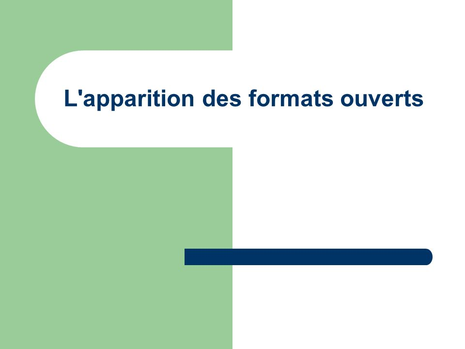 OASIS OASIS (Organization for the Advancement of Structured Information Standards) a promulgué le standard ouvert OpenDocument 1.0 en 2005.