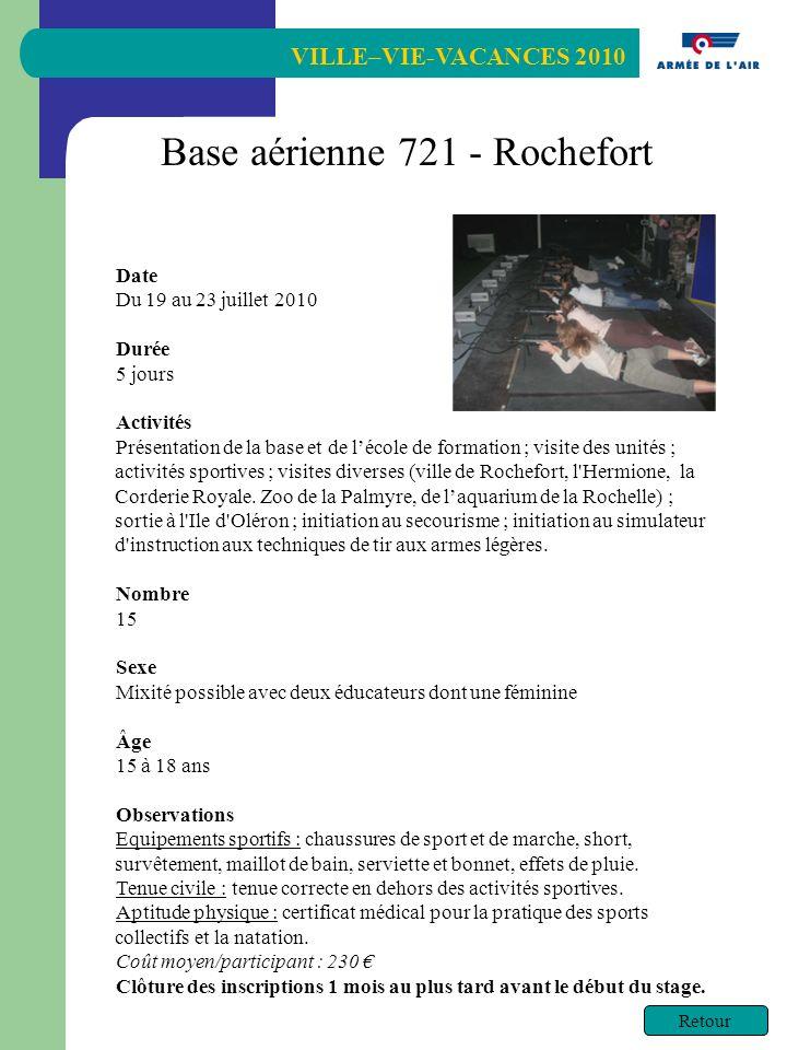 VILLE–VIE-VACANCES 2010 Retour Date Du 19 au 23 juillet 2010 Durée 5 jours Activités Présentation de la base et de lécole de formation ; visite des unités ; activités sportives ; visites diverses (ville de Rochefort, l Hermione, la Corderie Royale.