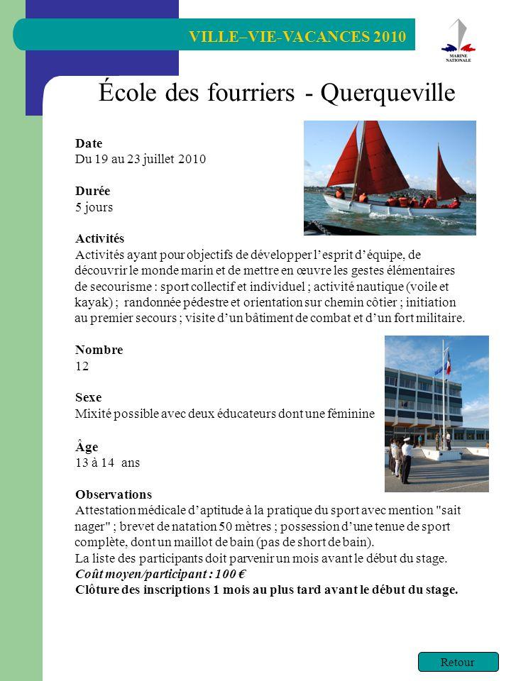 VILLE–VIE-VACANCES 2010 Retour École des fourriers - Querqueville Date Du 19 au 23 juillet 2010 Durée 5 jours Activités Activités ayant pour objectifs