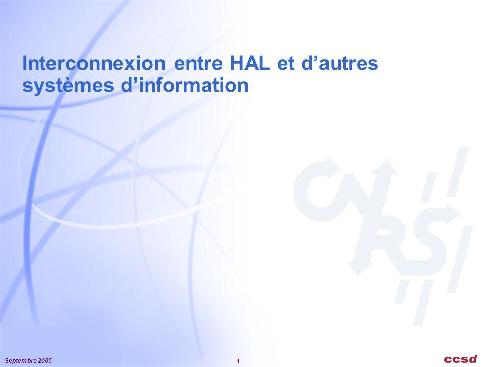Septembre 2005 2 Le SI client de HAL (enrichissement dune BD locale) Le SI récupère les notices bibliographiques Moissonnage OAI-PMH (méthode à privilégier) Fréquence de mise à jour Formats standards (DC non qualifié, OAI-HAL ~ DC qualifié) Format spécifique (OAI-OA.FR) Enrichissement local des méta données (homogénéité avec des notices saisies localement) Flux RSS Web service (recherche, lecture) Le SI récupère le texte intégral des articles Intégrer un miroir de HAL dans le SI local (est-ce une bonne idée ?) Par moissonnage OAI on obtient lURL du fichier La récupération peut être faite sur HTTP (CURL) Par web service Le web service encapsule le fichier dans sa réponse (non implémenté)