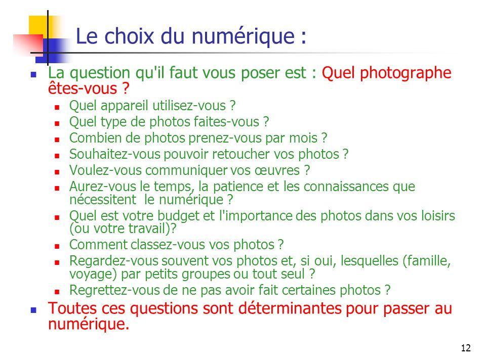 12 Le choix du numérique : La question qu'il faut vous poser est : Quel photographe êtes-vous ? Quel appareil utilisez-vous ? Quel type de photos fait