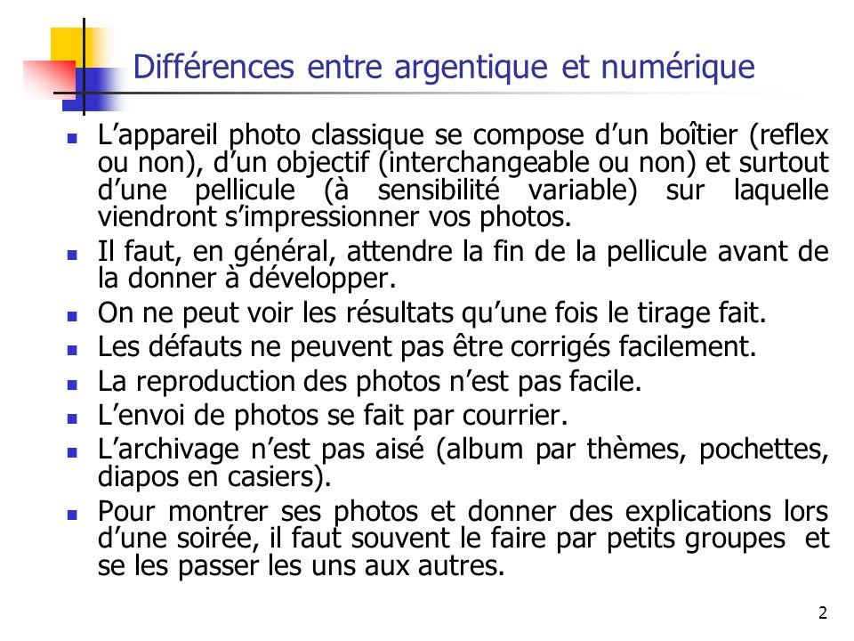 2 Différences entre argentique et numérique Lappareil photo classique se compose dun boîtier (reflex ou non), dun objectif (interchangeable ou non) et