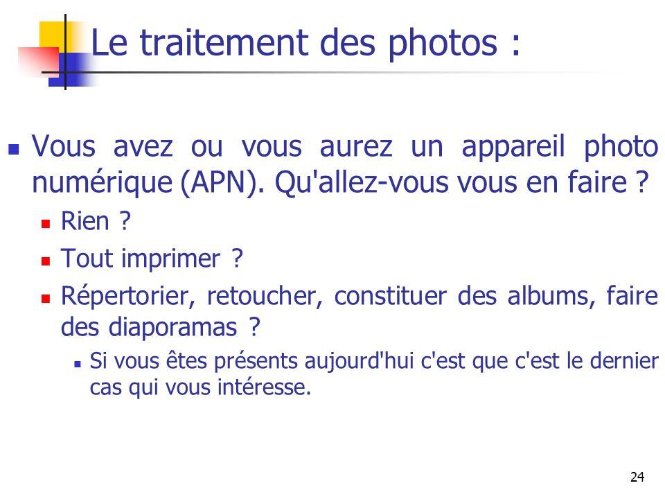 24 Le traitement des photos : Vous avez ou vous aurez un appareil photo numérique (APN). Qu'allez-vous vous en faire ? Rien ? Tout imprimer ? Répertor