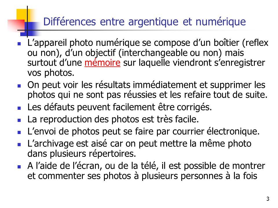 3 Différences entre argentique et numérique Lappareil photo numérique se compose dun boîtier (reflex ou non), dun objectif (interchangeable ou non) ma