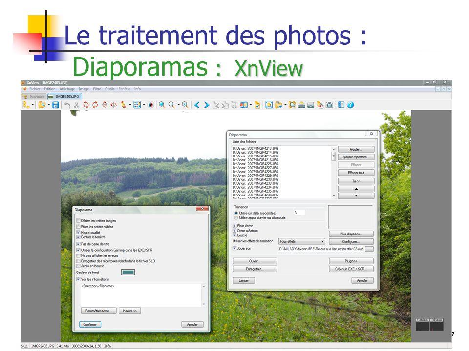 37 : XnView Le traitement des photos : Diaporamas : XnView