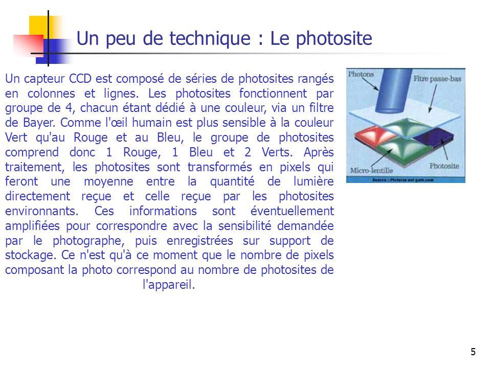 5 Un peu de technique : Le photosite Un capteur CCD est composé de séries de photosites rangés en colonnes et lignes. Les photosites fonctionnent par
