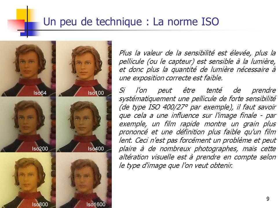 9 Un peu de technique : La norme ISO Plus la valeur de la sensibilité est élevée, plus la pellicule (ou le capteur) est sensible à la lumière, et donc