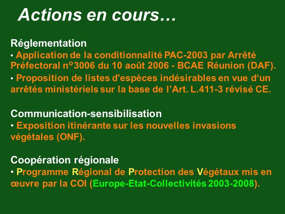 Actions en cours… Réglementation Application de la conditionnalité PAC-2003 par Arrêté Préfectoral n°3006 du 10 août 2006 - BCAE Réunion (DAF). Propos