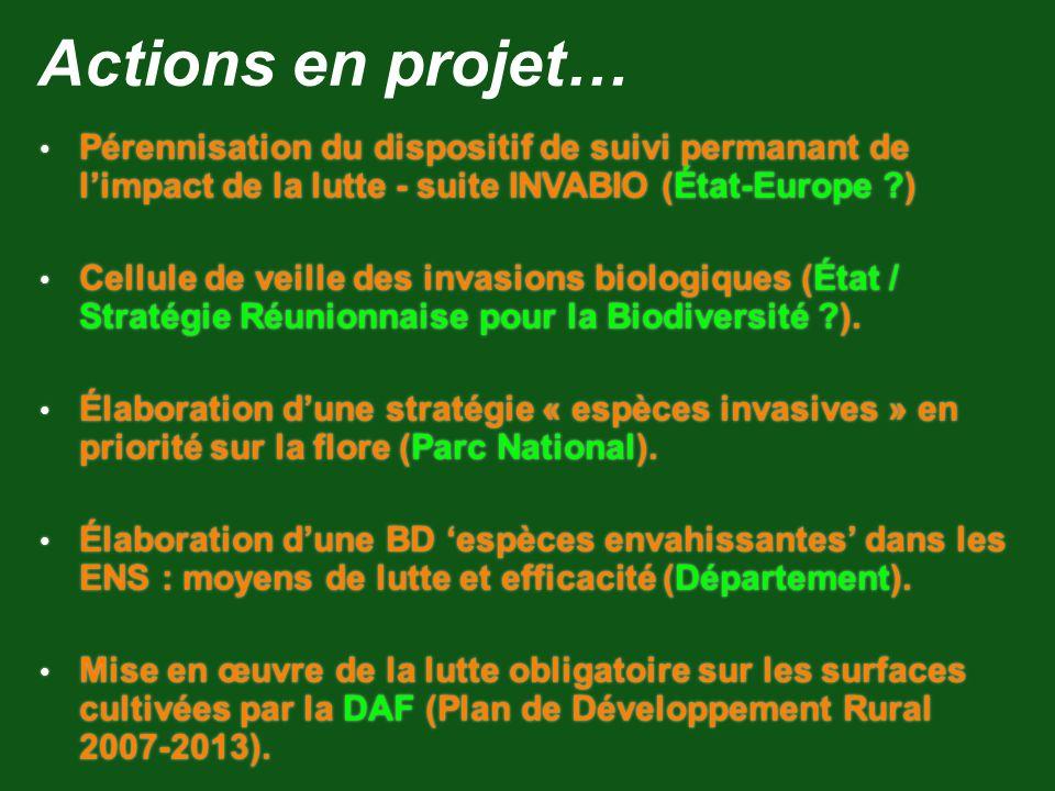 Actions en projet… Pérennisation du dispositif de suivi permanant de limpact de la lutte - suite INVABIO (État-Europe ?) Cellule de veille des invasio