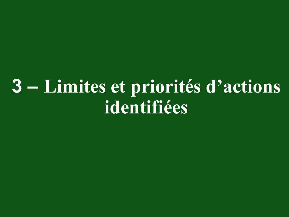 3 – Limites et priorités dactions identifiées