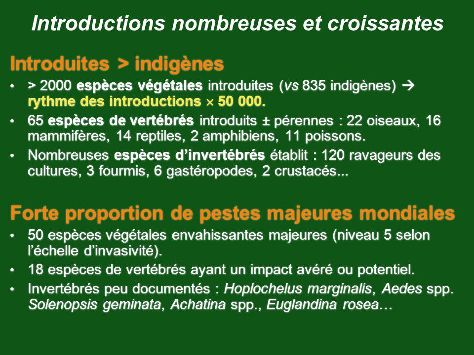 Introductions nombreuses et croissantes Introduites > indigènes > 2000 espèces végétales introduites (vs 835 indigènes) rythme des introductions 50 00