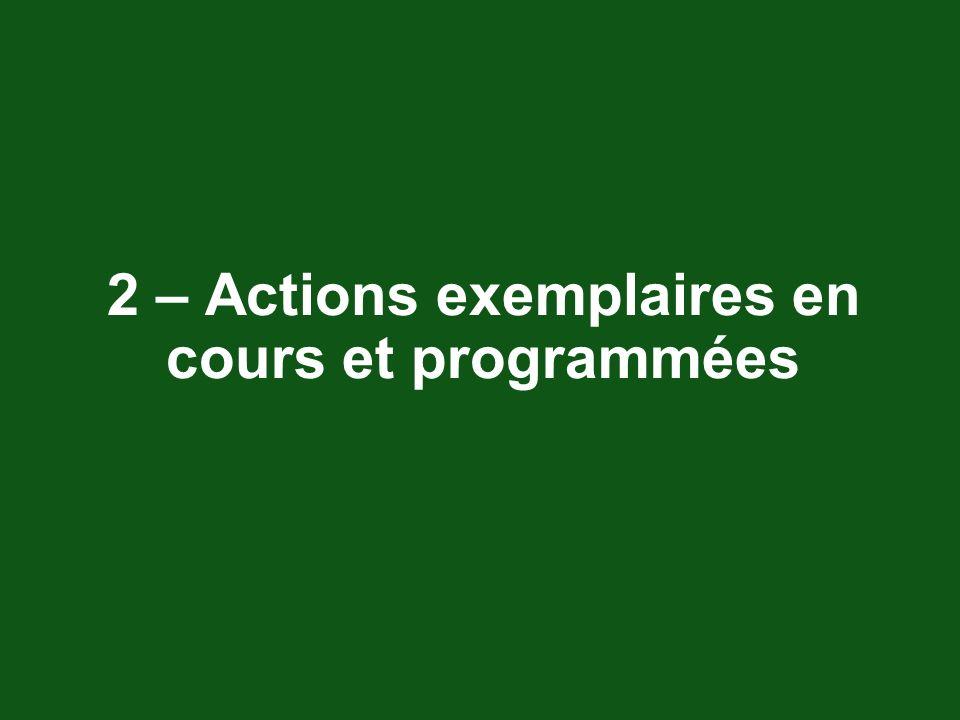 2 – Actions exemplaires en cours et programmées