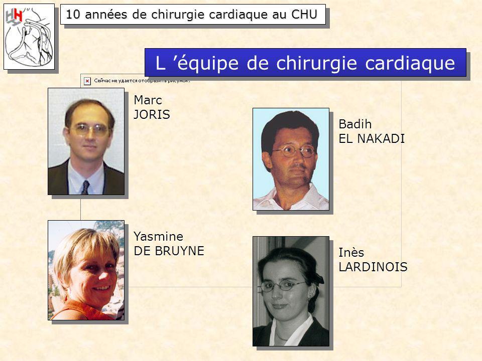 10 années de chirurgie cardiaque au CHU MarcJORIS Badih EL NAKADI Yasmine DE BRUYNE InèsLARDINOIS L équipe de chirurgie cardiaque