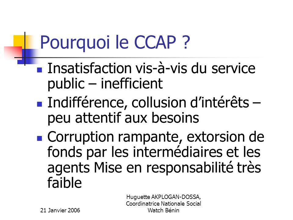 21 Janvier 2006 Huguette AKPLOGAN-DOSSA, Coordinatrice Nationale Social Watch Bénin Pourquoi le CCAP ? Insatisfaction vis-à-vis du service public – in