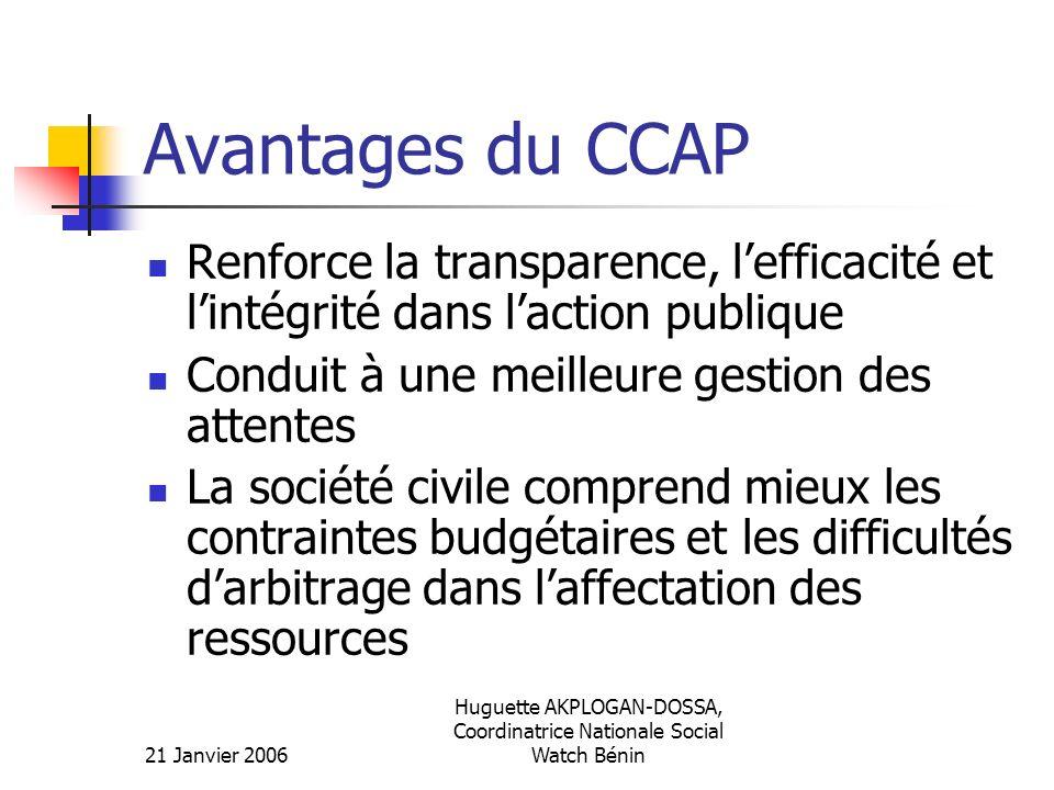 21 Janvier 2006 Huguette AKPLOGAN-DOSSA, Coordinatrice Nationale Social Watch Bénin Avantages du CCAP Renforce la transparence, lefficacité et lintégr